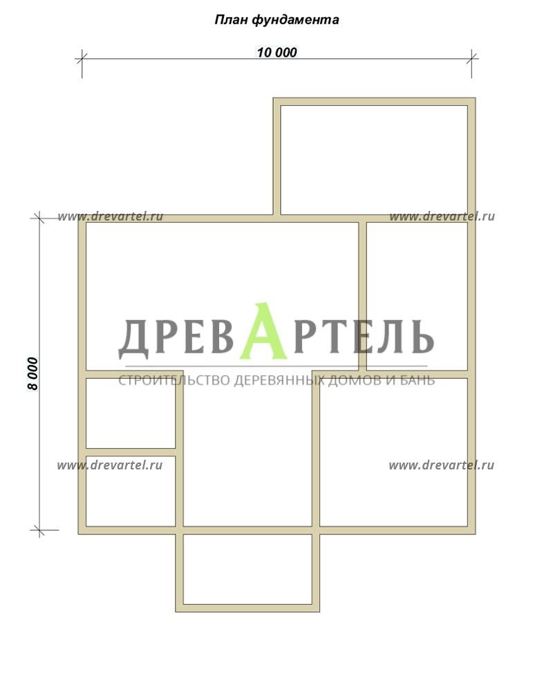 План ленточного фундамента - Дом 8х9 с котельной и отличной планировкой