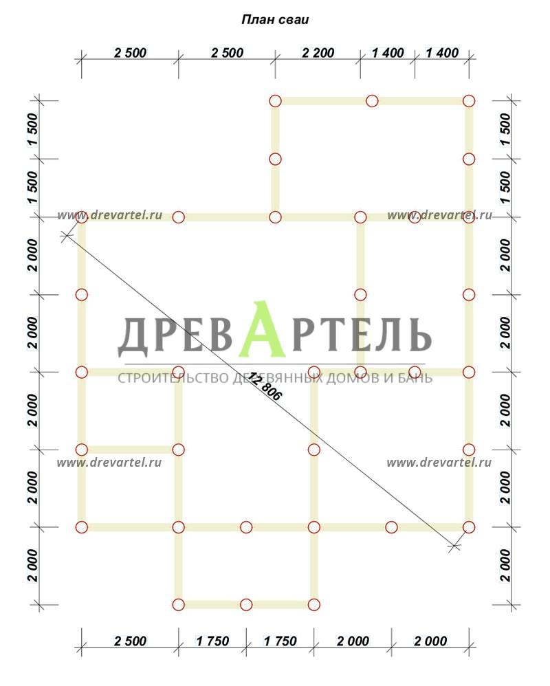 План свайного фундамента - Дом 8х9 с котельной и отличной планировкой