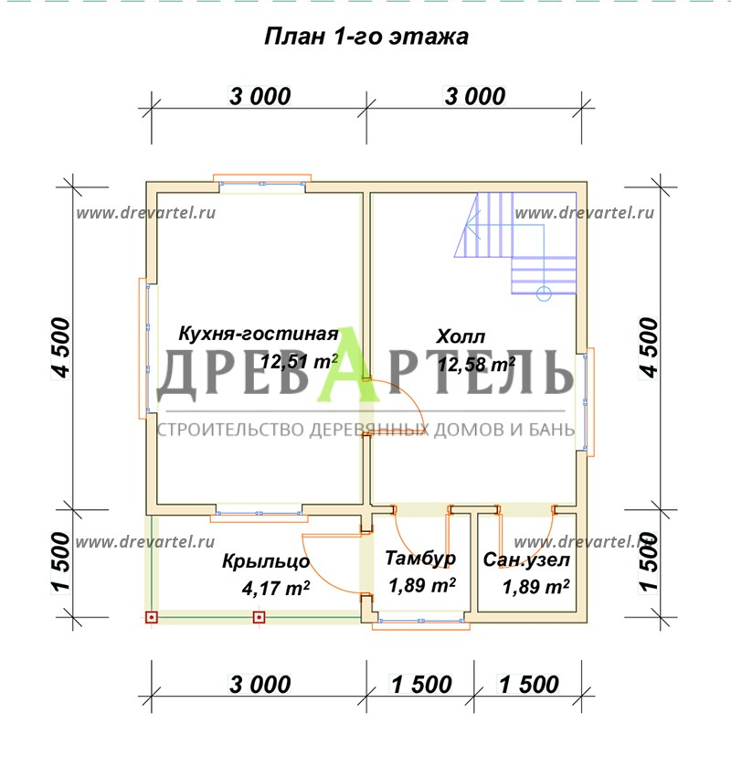План 1-го этажа - Дачный двухэтажный дом 6х6