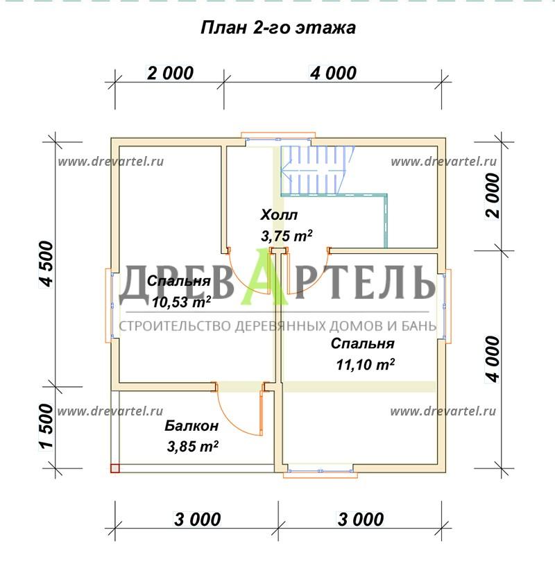 План 2-го этажа - Дачный двухэтажный дом 6х6