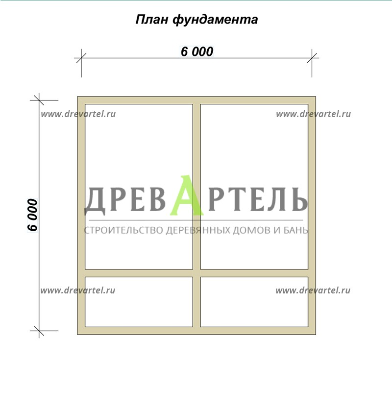 План ленточного фундамента - Дачный двухэтажный дом 6х6