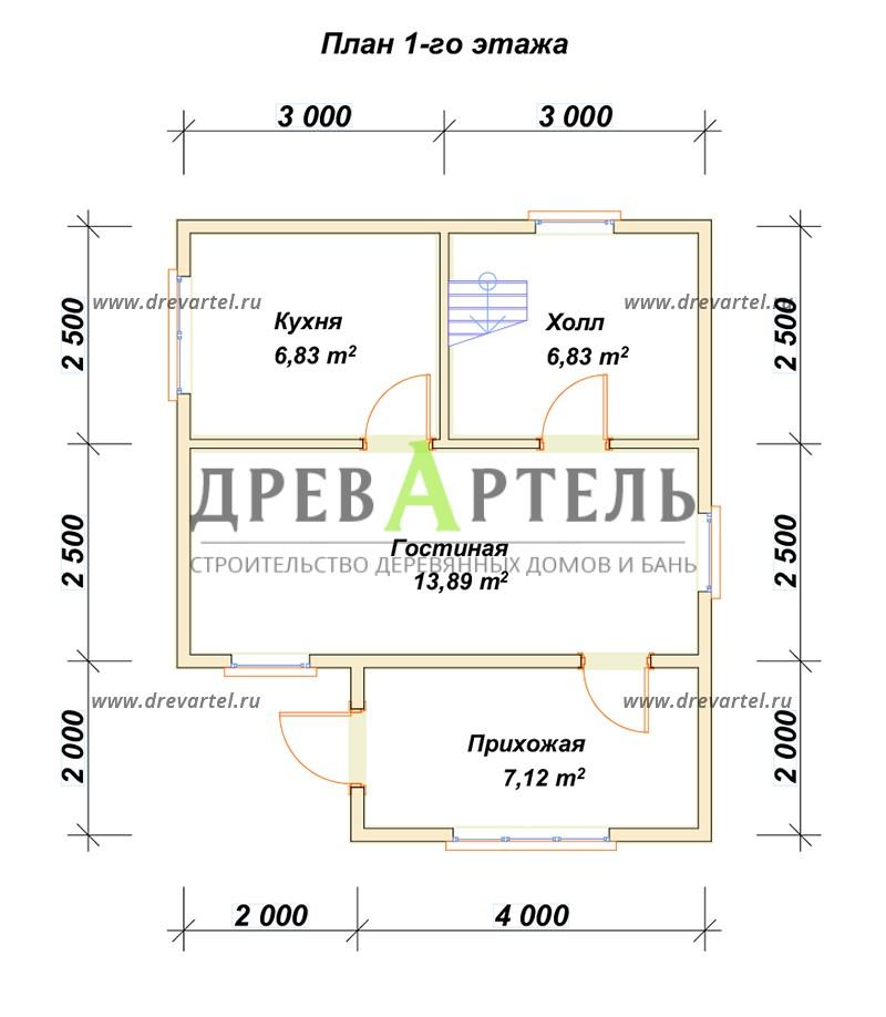 План 1-го этажа - Дом из бруса 5х6