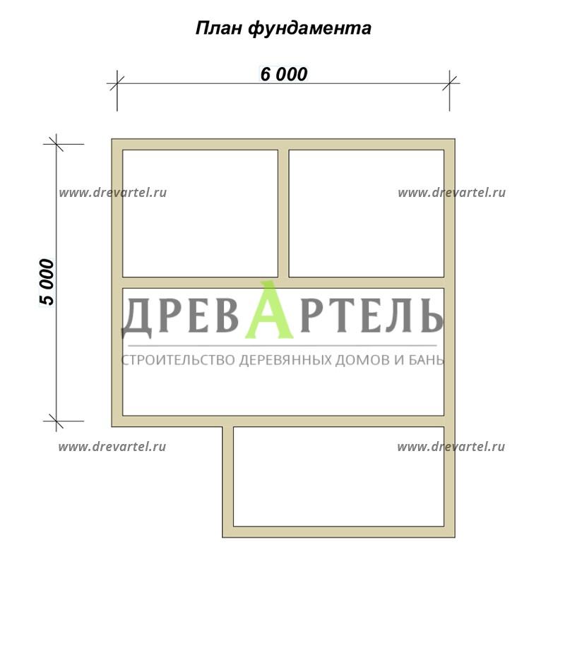 План ленточного фундамента - Дом из бруса 5х6
