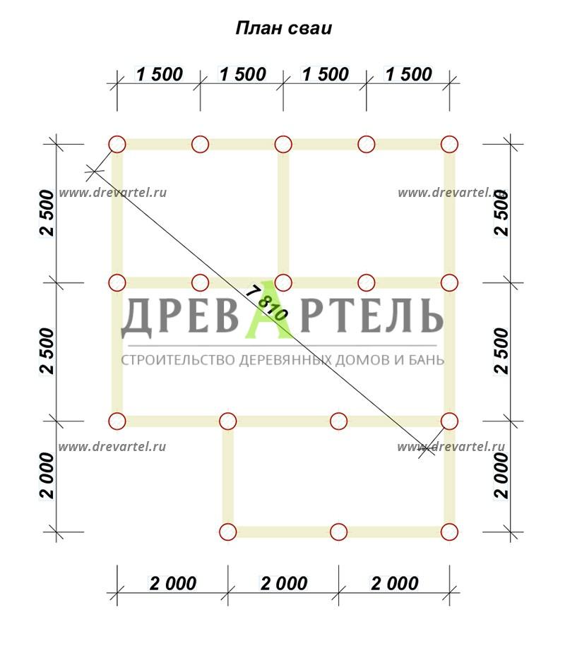 План свайного фундамента - Дом из бруса 5х6