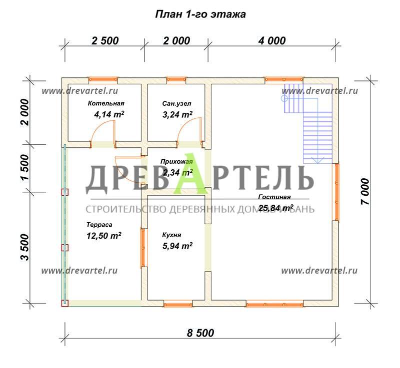План 1-го этажа - Дом из бруса 7х8 с котельной