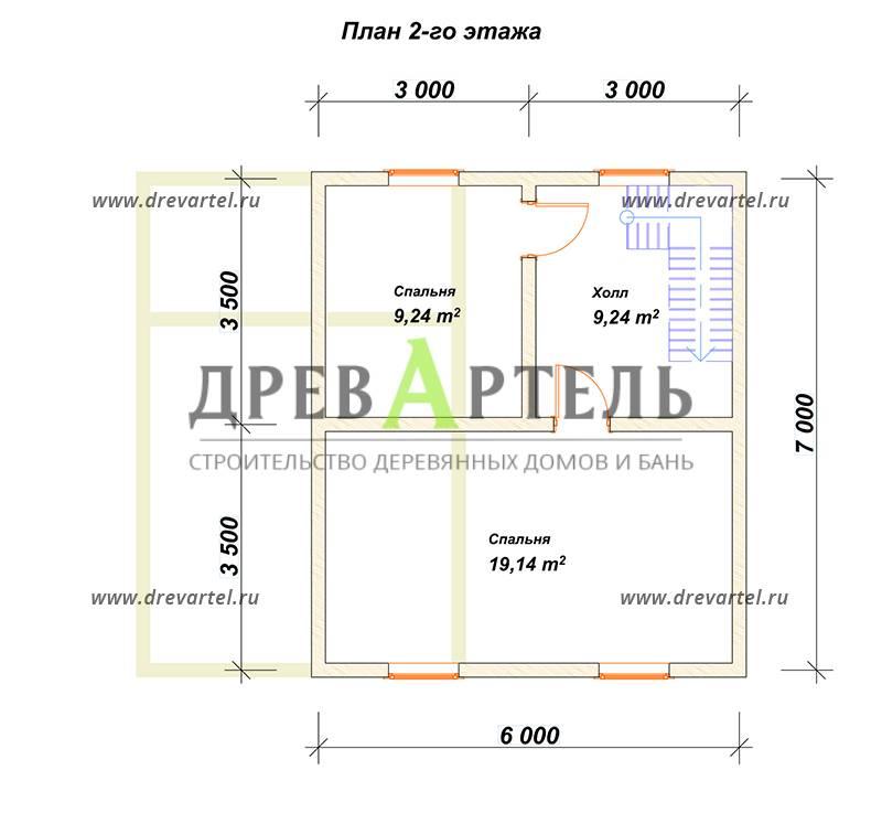 План 2-го этажа - Дом из бруса 7х8 с котельной