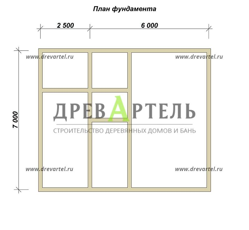 План ленточного фундамента - Дом из бруса 7х8 с котельной