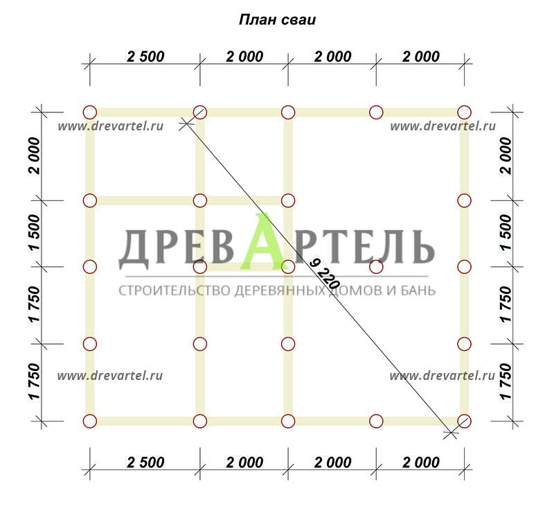 План свайного фундамента - Дом из бруса 7х8 с котельной