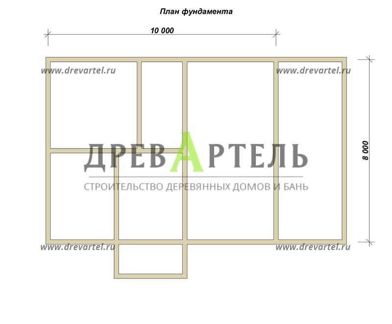 План ленточного фундамента - Дом из бруса 8х10 с мансардой и террасой