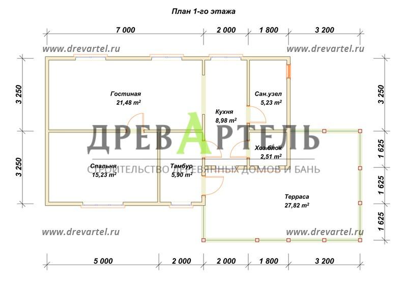 План 1-го этажа - Дом из бруса 8х14 с террасой