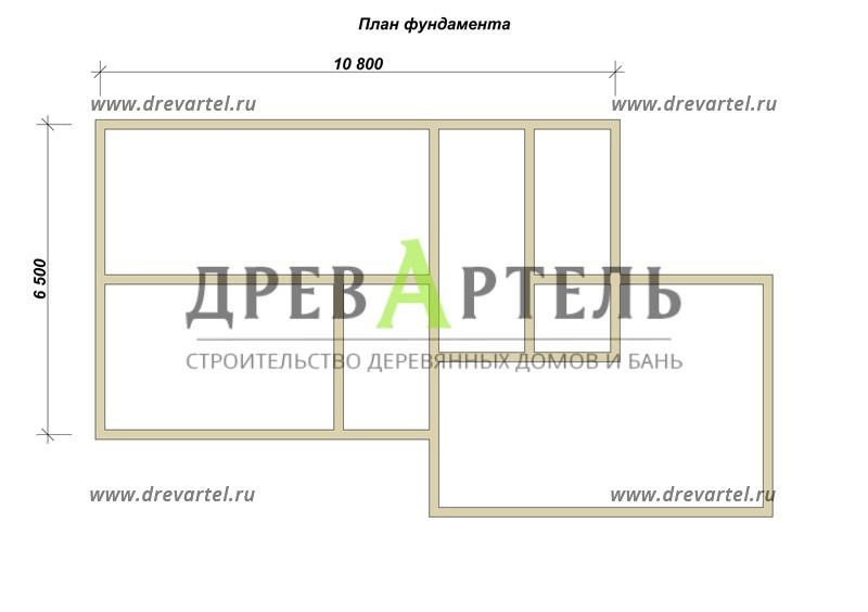 План ленточного фундамента - Дом из бруса 8х14 с террасой