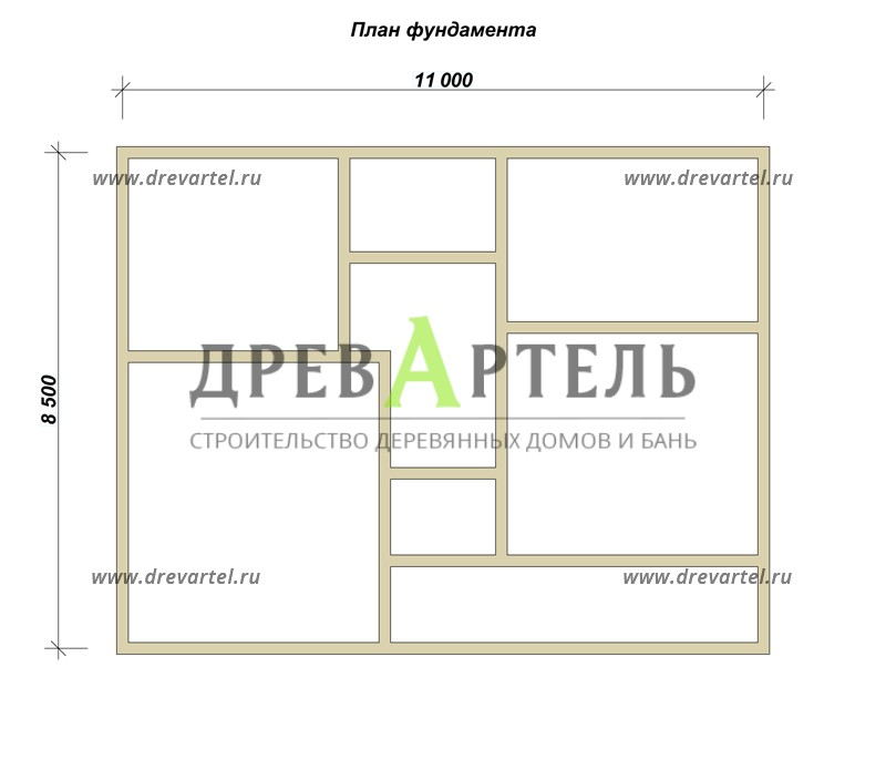План ленточного фундамента - Проект дома из бруса 8х11