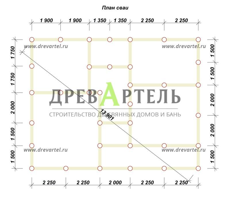 План свайного фундамента - Проект дома из бруса 8х11