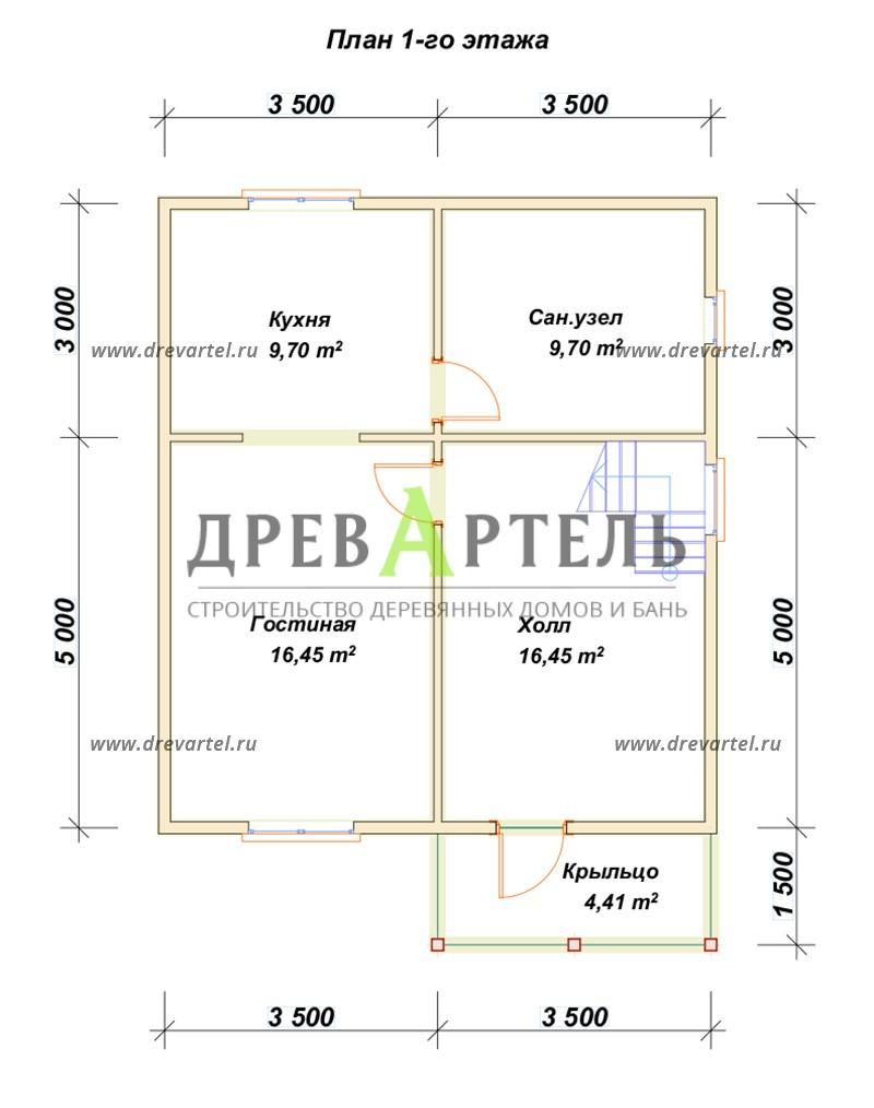 План 1-го этажа - Двухэтажный дом из бруса 7х8