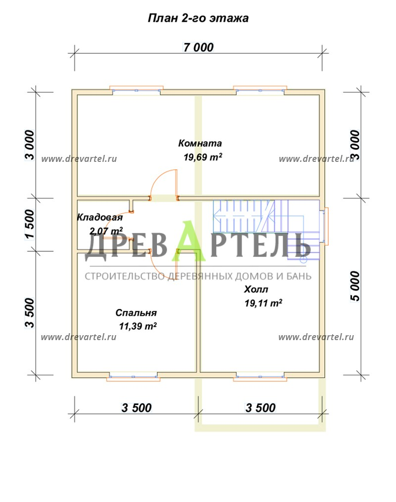 План 2-го этажа - Двухэтажный дом из бруса 7х8
