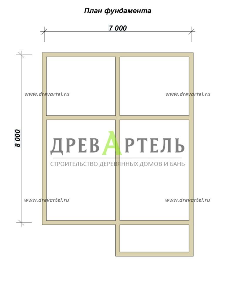 План ленточного фундамента - Двухэтажный дом из бруса 7х8