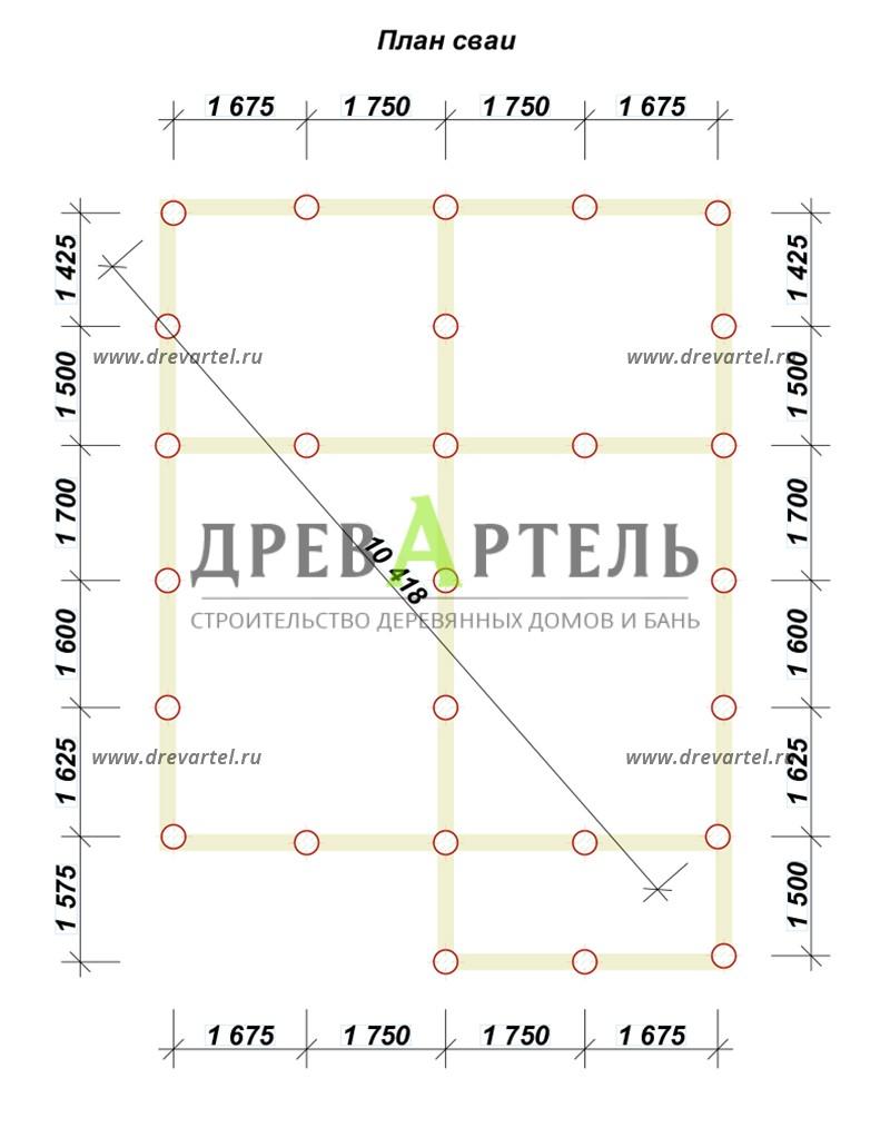 План свайного фундамента - Двухэтажный дом из бруса 7х8