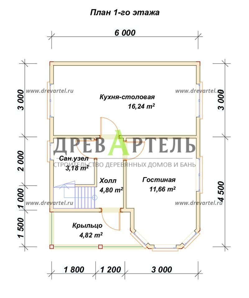 План 1-го этажа - Дом из бруса 6х7 с эркером