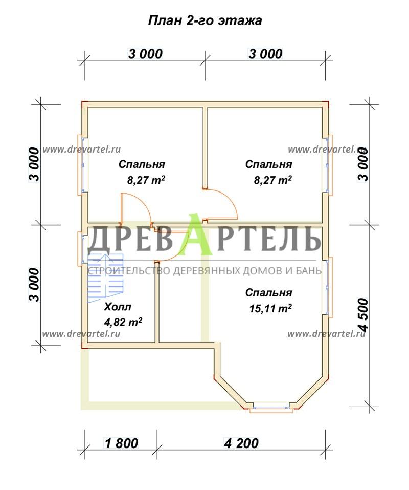 План 2-го этажа - Дом из бруса 6х7 с эркером