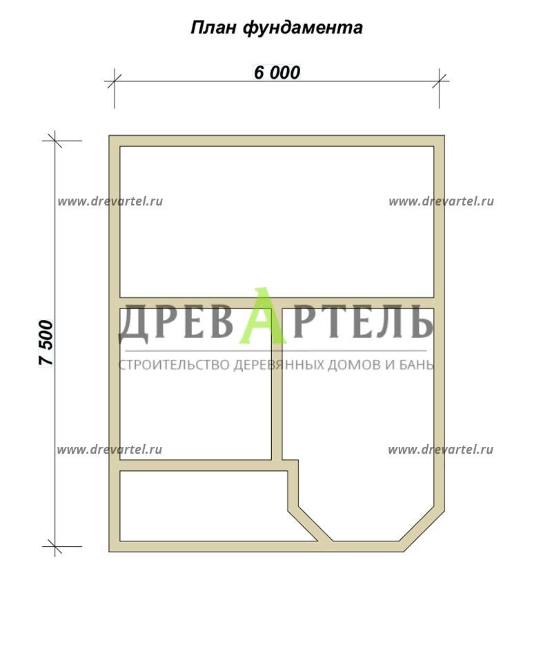 План ленточного фундамента - Дом из бруса 6х7 с эркером