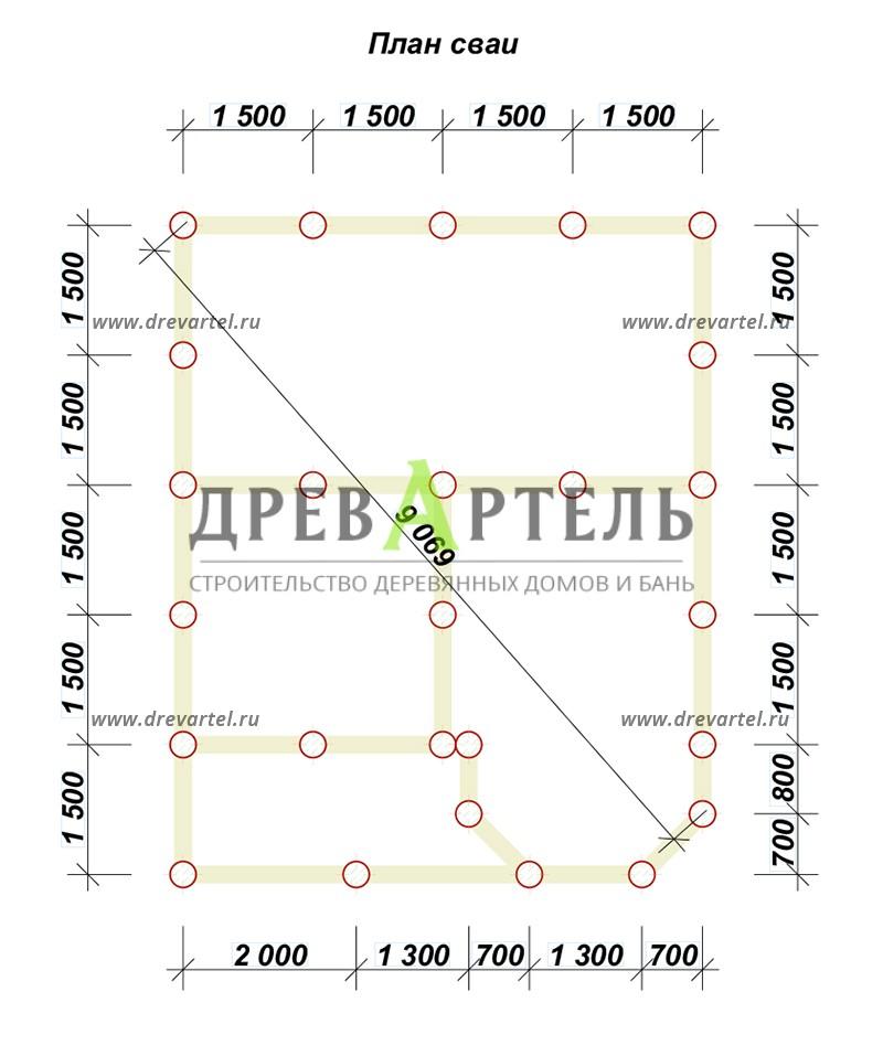 План свайного фундамента - Дом из бруса 6х7 с эркером