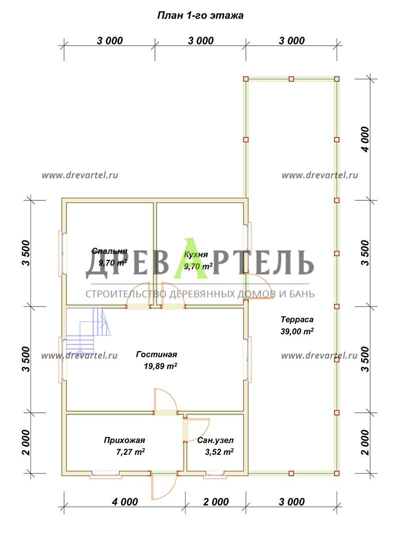 План 1-го этажа - Дом из бруса 6х9 с просторной террасой