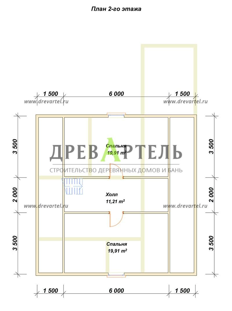 План 2-го этажа - Дом из бруса 6х9 с просторной террасой