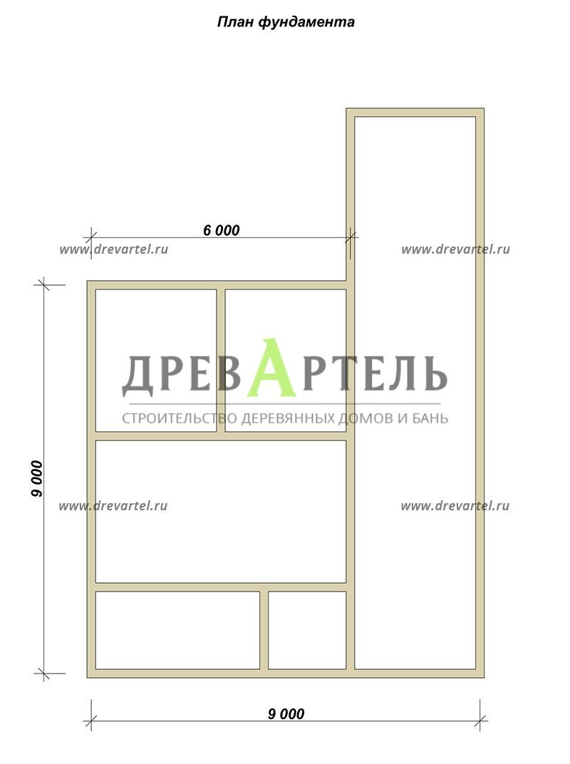 План ленточного фундамента - Дом из бруса 6х9 с просторной террасой