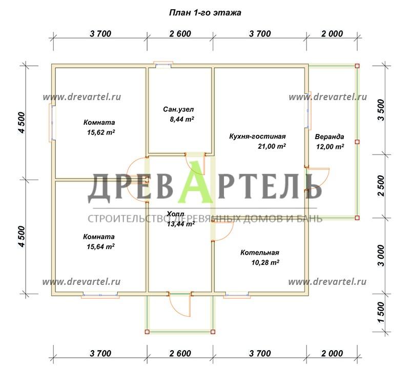 План 1-го этажа - Одноэтажный дом из бруса 9х10