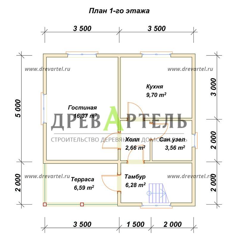 План 1-го этажа - Полутораэтажный дом из бруса 7х7
