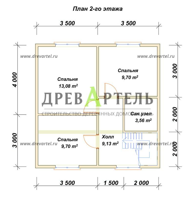 План 2-го этажа - Полутораэтажный дом из бруса 7х7