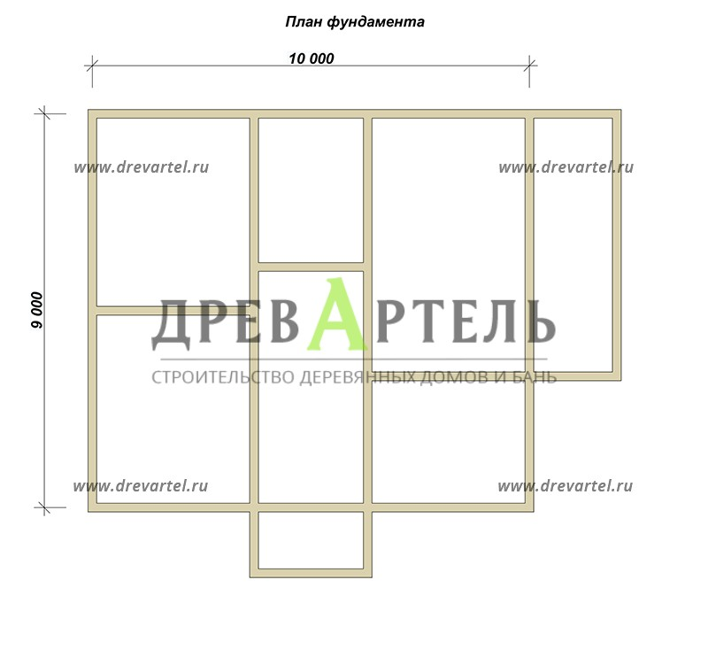 План ленточного фундамента - Одноэтажный дом из бруса 9х10