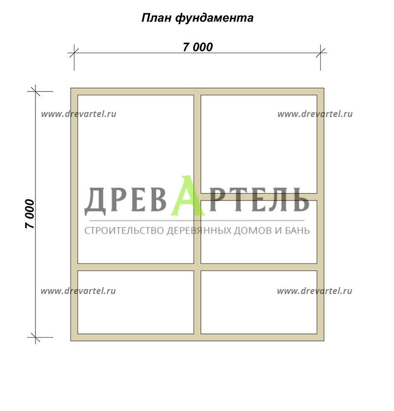 План ленточного фундамента - Полутораэтажный дом из бруса 7х7