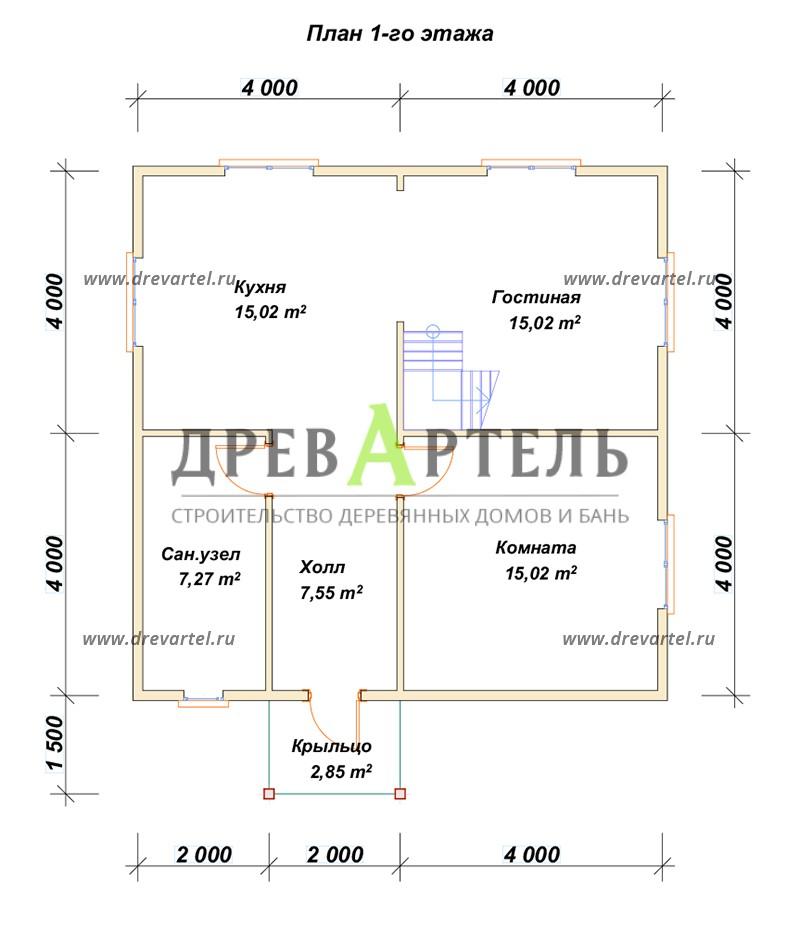 План 1-го этажа - Полутораэтажный брусовой дом 8х8
