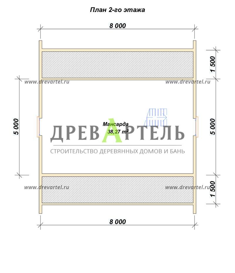 План 2-го этажа - Полутораэтажный брусовой дом 8х8