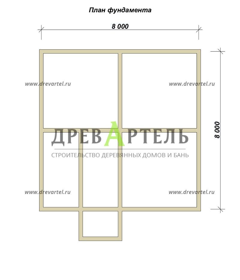 План ленточного фундамента - Полутораэтажный брусовой дом 8х8