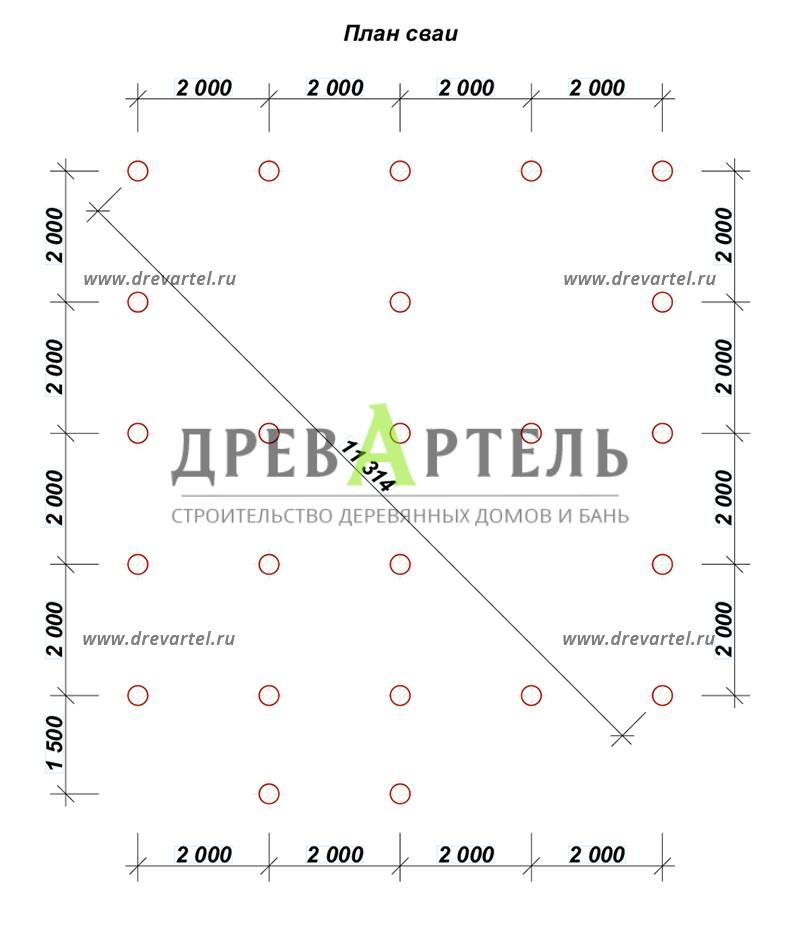 План свайного фундамента - Полутораэтажный брусовой дом 8х8