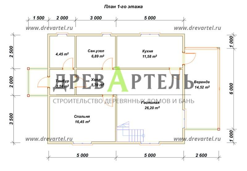 План 1-го этажа - Дом из бруса 8х10 с отличной планировкой