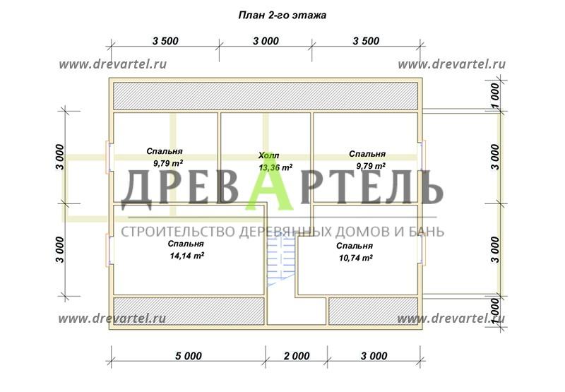 План 2-го этажа - Дом из бруса 8х10 с отличной планировкой