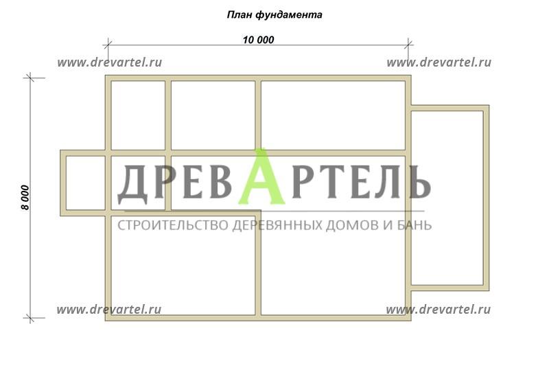 План ленточного фундамента - Дом из бруса 8х10 с отличной планировкой