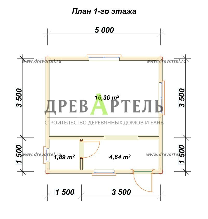 План 1-го этажа - Дачный дом из бруса 5х5