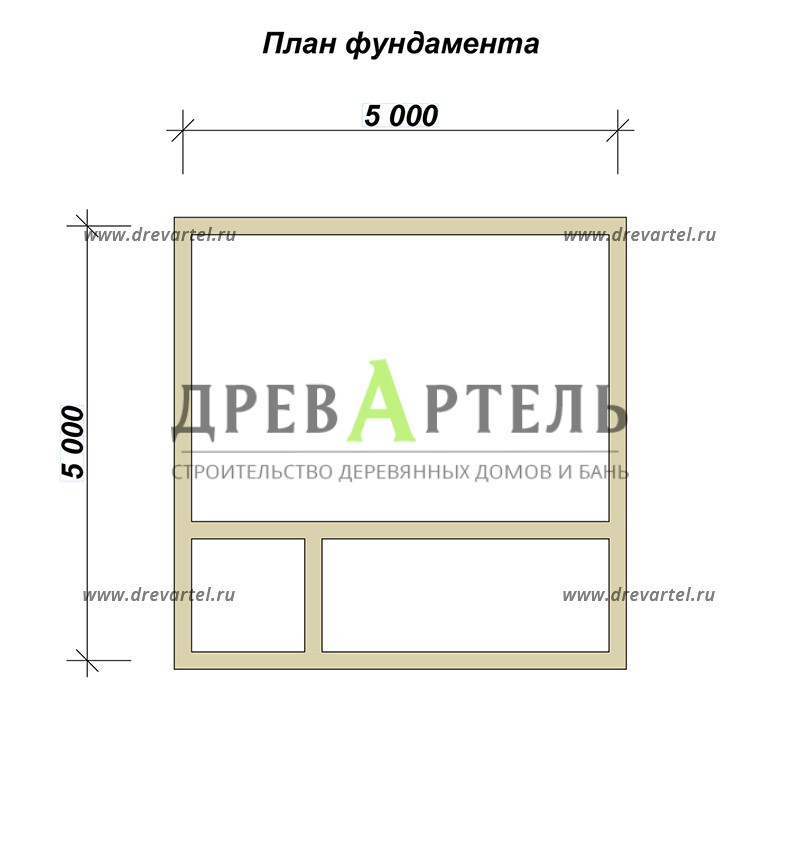 План ленточного фундамента - Дачный дом из бруса 5х5