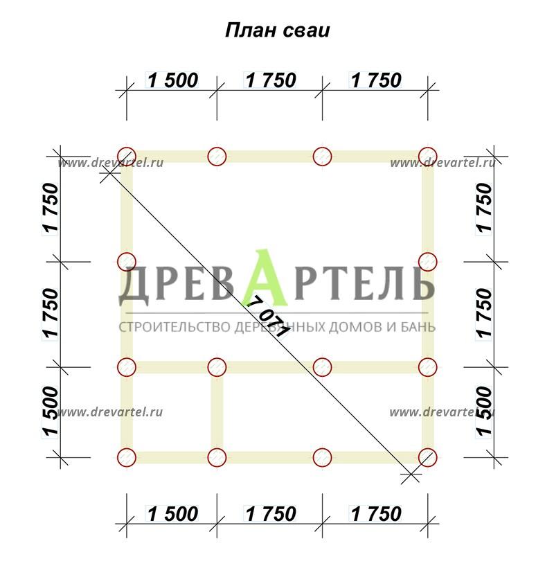План свайного фундамента - Дачный дом из бруса 5х5