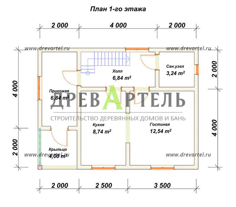 План 1-го этажа - Проект полутораэтажного дома 6х8 с балконом