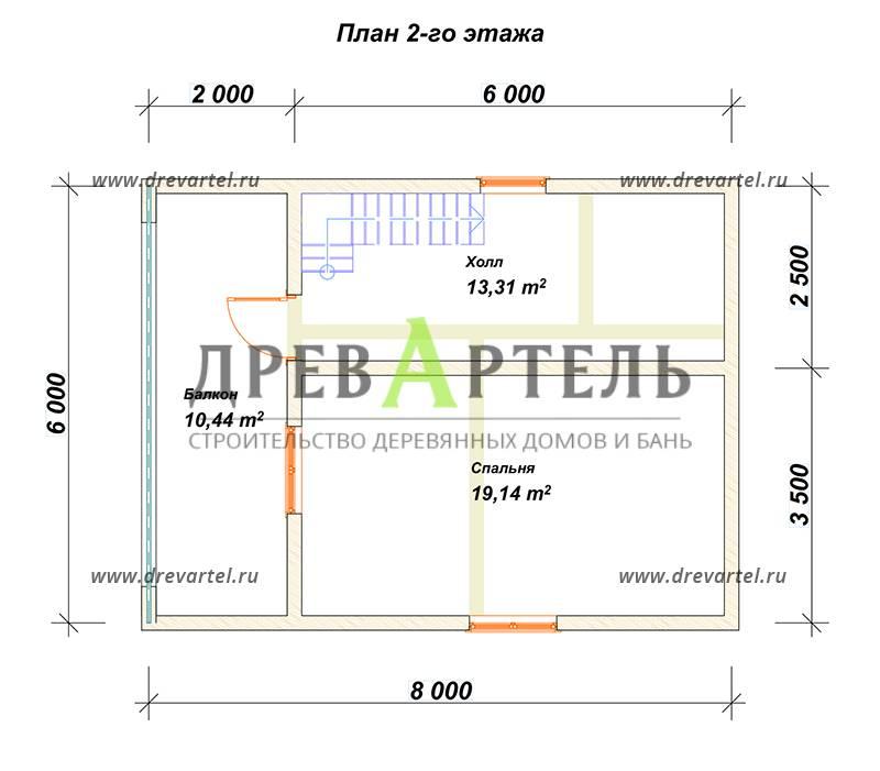 План 2-го этажа - Проект полутораэтажного дома 6х8 с балконом