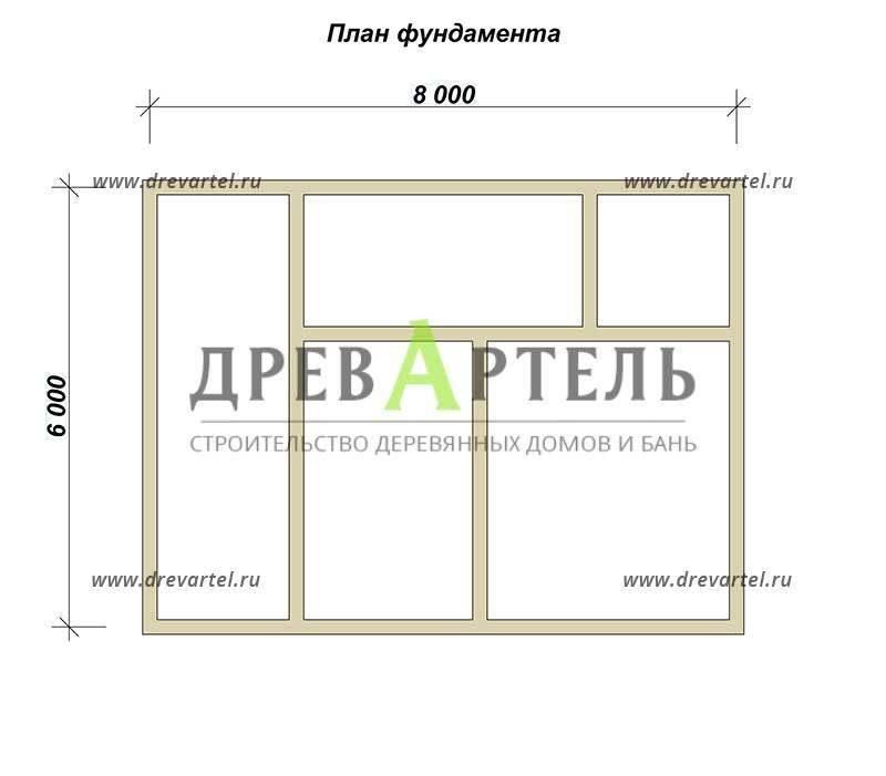 План ленточного фундамента - Проект полутораэтажного дома 6х8 с балконом