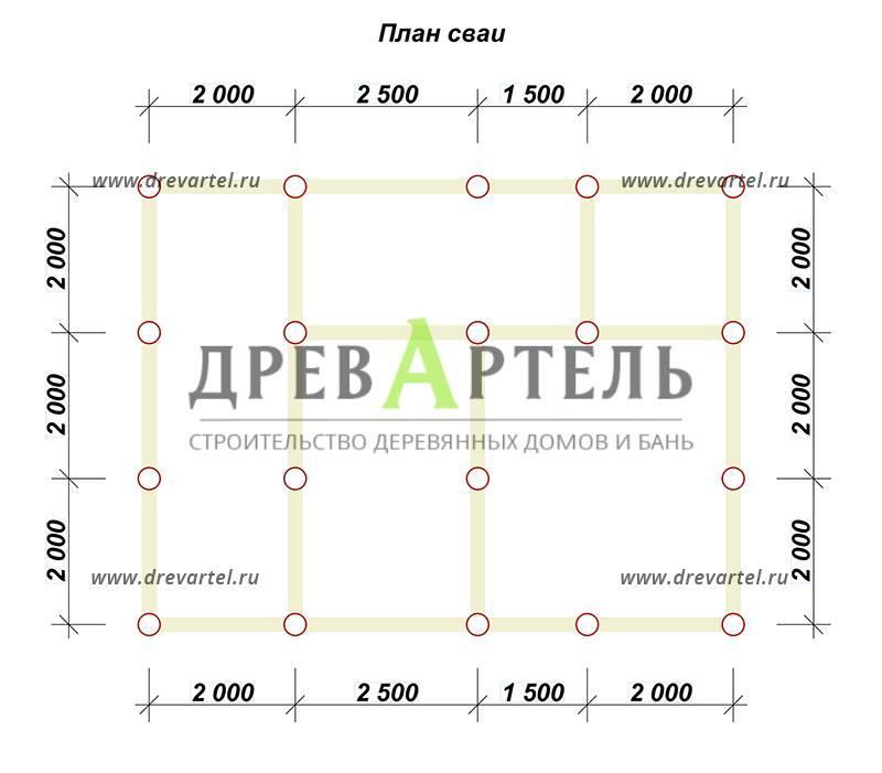 План свайного фундамента - Проект полутораэтажного дома 6х8 с балконом