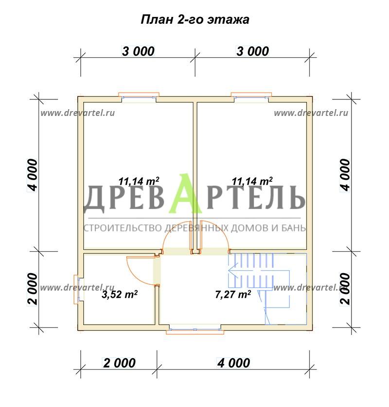 План 2-го этажа - Двухэтажный дом из бруса 6х6