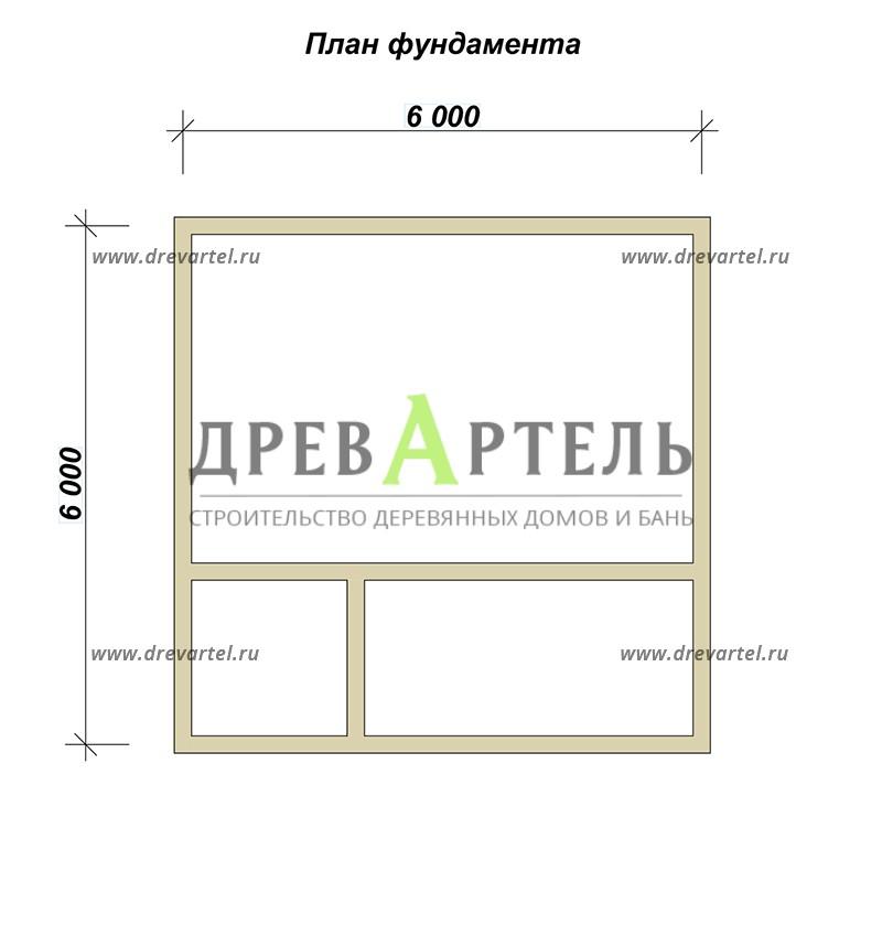 План ленточного фундамента - Двухэтажный дом из бруса 6х6