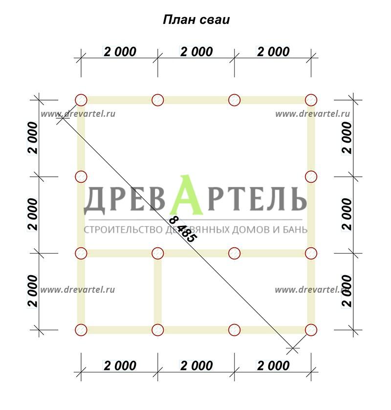 План свайного фундамента - Двухэтажный дом из бруса 6х6